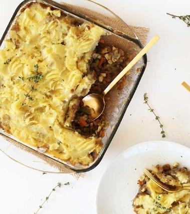 Sformato di patate, lenticchie e funghi