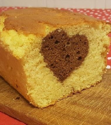 Plumcake con cuore al gianduiotto