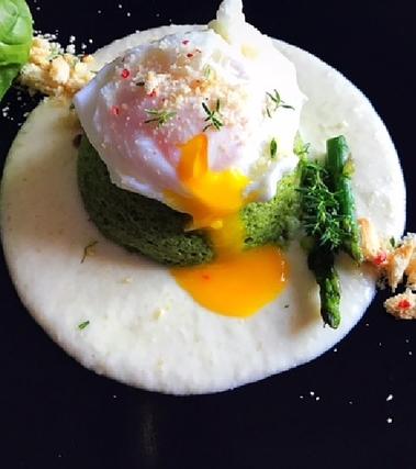 Flan di asparagi con uovo in camicia