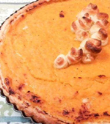 Torta salata alla zucca con cuore di formaggio