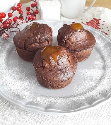 Muffins al cioccolato e marmellata