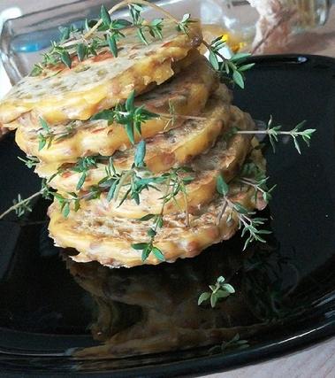Mini pancake alle lenticchie e timo
