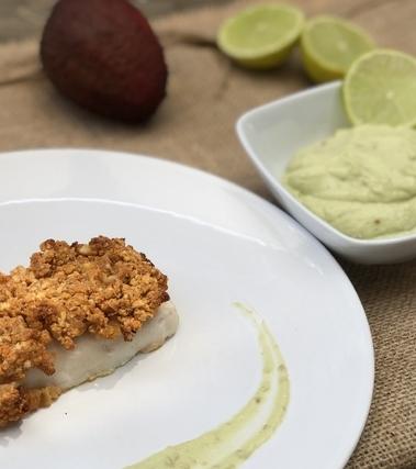 Merluzzo con crema di avocado