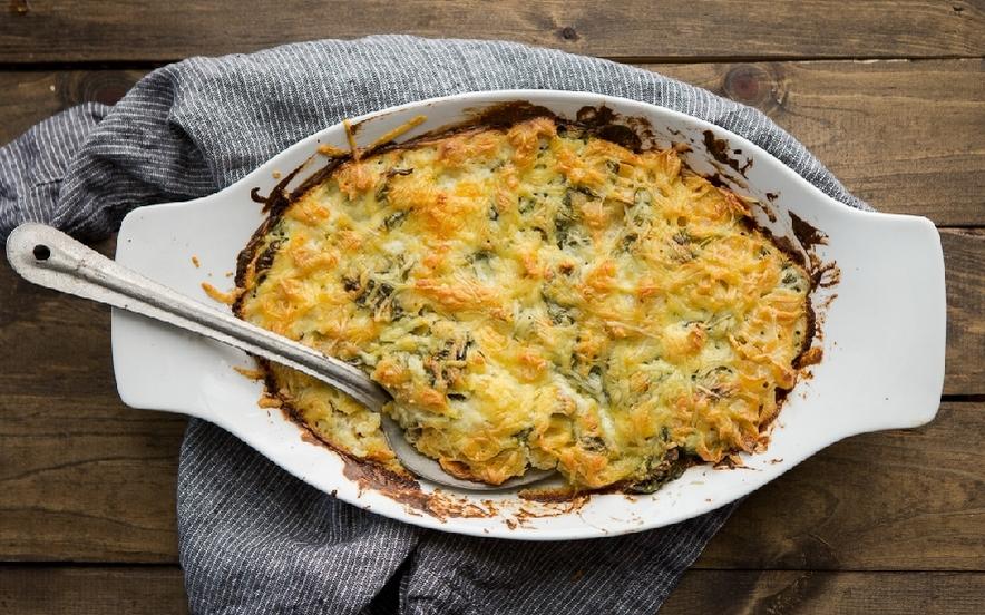 Timballo di conchiglioni con spinaci al formaggio