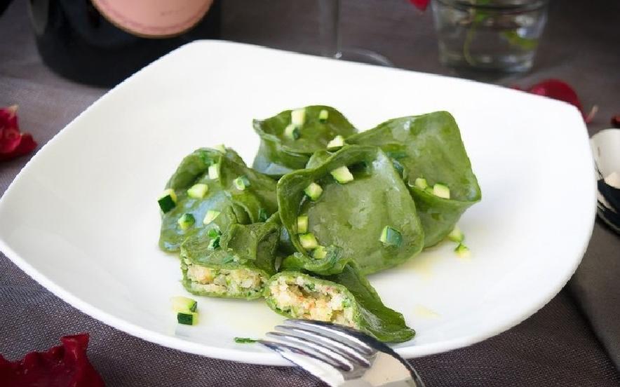 Tortelli di spinaci al ripieno di gamberi
