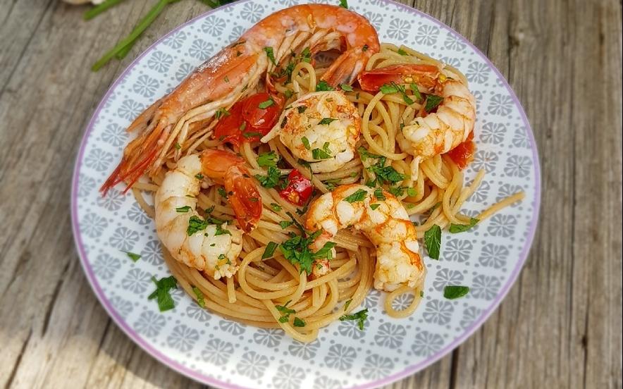 Spaghetti integrali con gamberoni