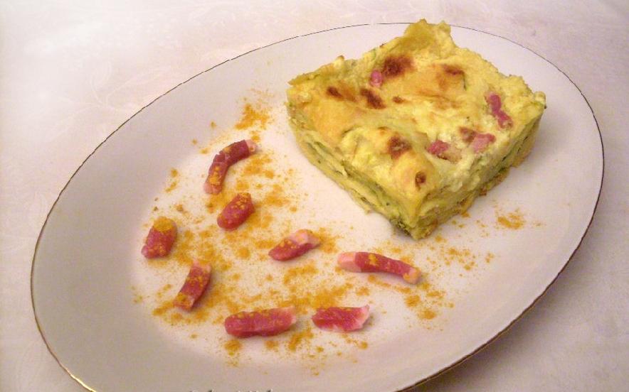 Lasagne alla curcuma con porri zucchine e pancetta