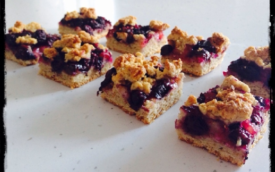 Crumble ai mirtilli - Blueberry crumble bars