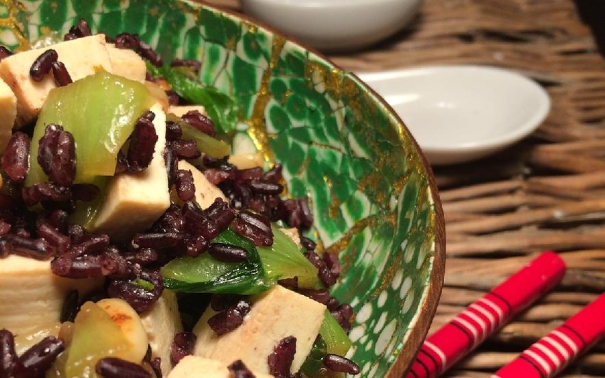 Riso Venere con pak choi e tofu
