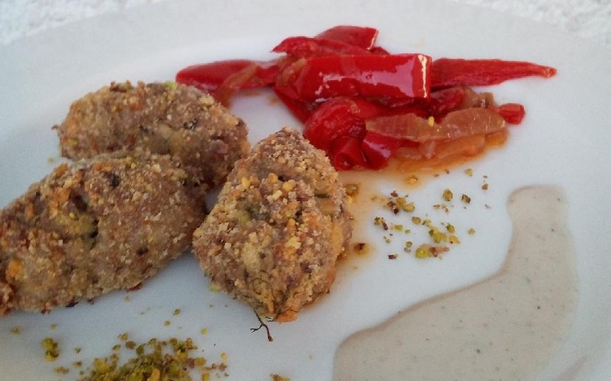 Polpettine con impanatura al pistacchio