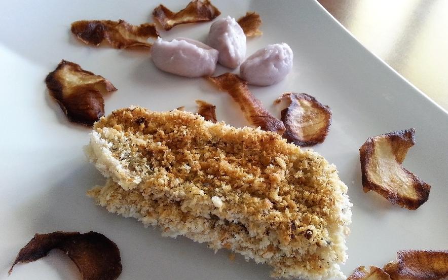 Spatola gratinato con quenelle di patate viola