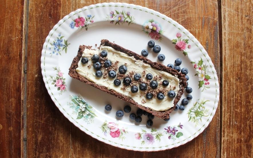 Crostata al cioccolato bianco e mirtilli