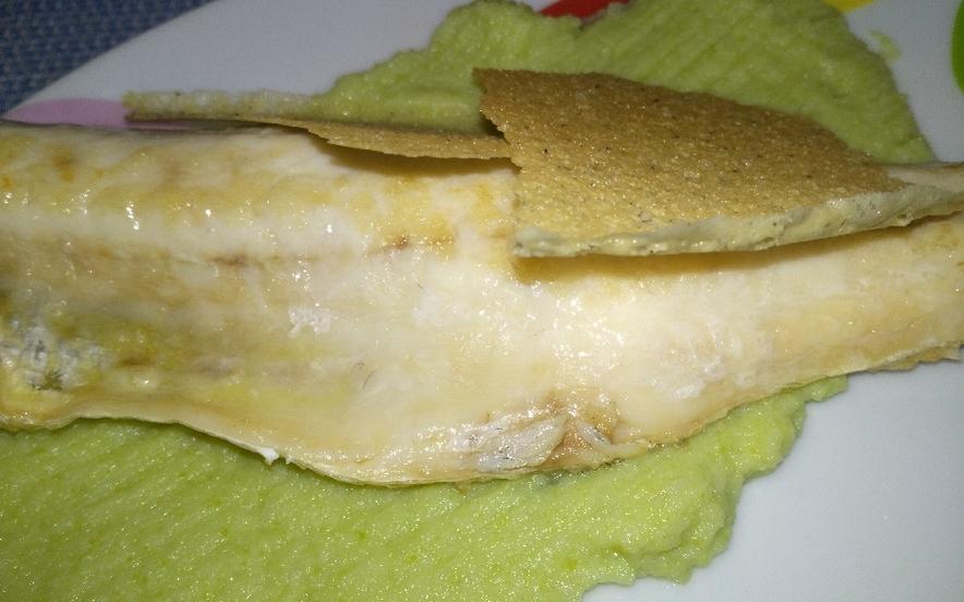 Spigola su crema di cavolfiore verde e cialda