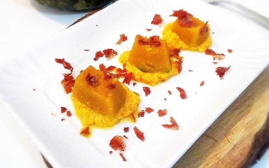 Cubetti di zucca salsa di parmigiano e zafferano