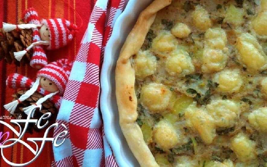 Quiche con patate, topinambur e tuma