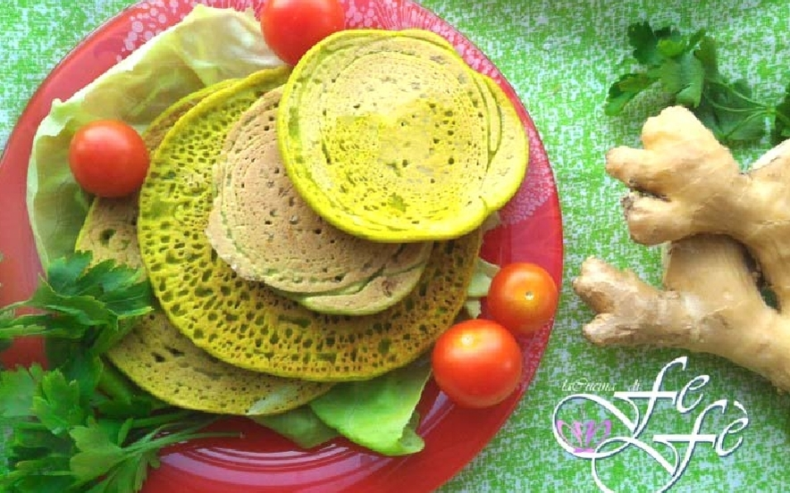 Pancake salati con farina di piselli
