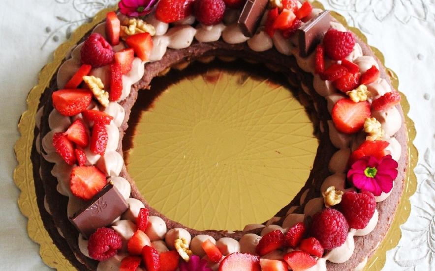 Cream tarte al cacao e noci con namelaka