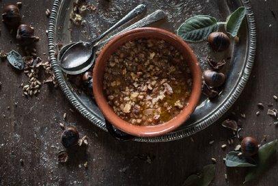 Zuppa di farro, funghi e castagne