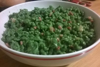 Spatzle agli spinaci e speck