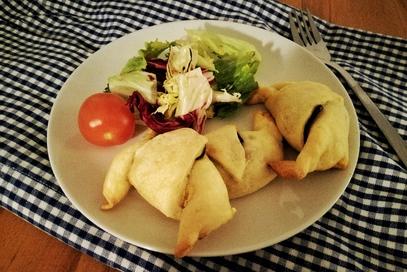 Cornetti salati con zucchine ricotta e curry