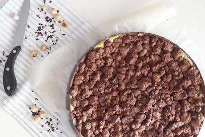 Sbriciolata al cacao con crema e nocciolata