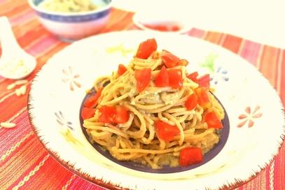 Spaghetti integrali con pesto di melanzane
