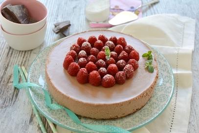 Cheesecake cioccolato e lamponi