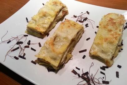 Lasagne con melanzana, sedano rapa e caciocavallo