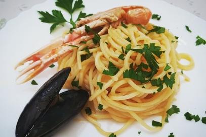 Spaghetti scampi e cozze