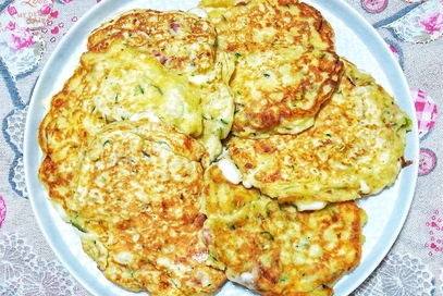 Pancake di zucchine e pancetta