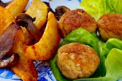 Polpette, patate e funghetti